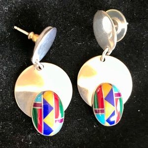 Santa Fe inspired Sterling Stone Inlay Earrings